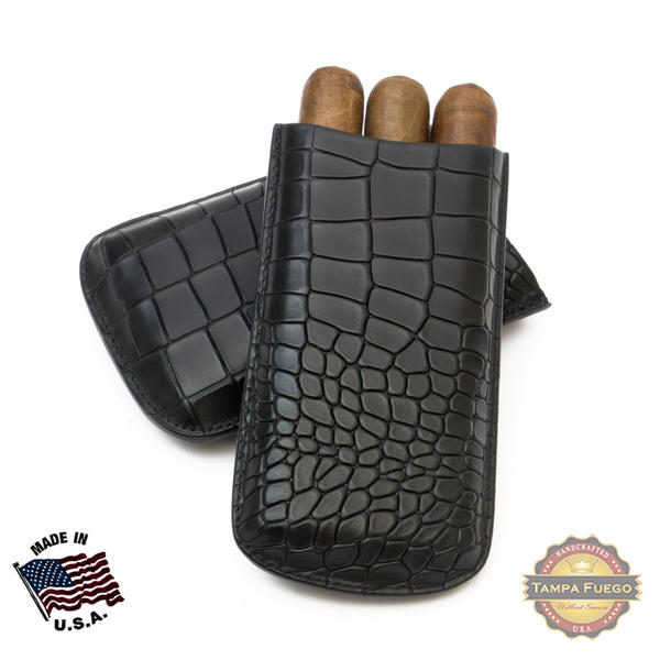 Tampa Fuego Cigar Case Deep Croco Grain Genuine Leather Black Big 3 Finger - SPO