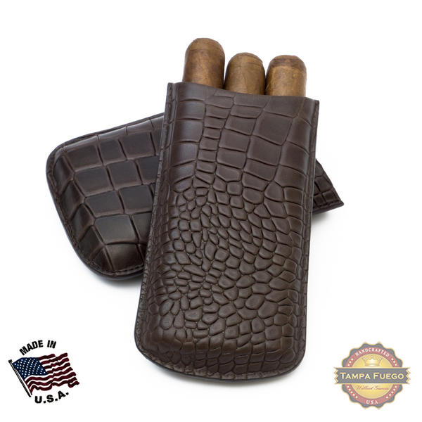 Tampa Fuego Cigar Case Deep Croco Grain Genuine Leather Brown Big 3 Finger - SPO