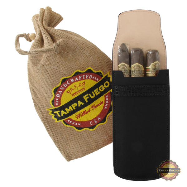 Tampa Fuego Cigar Case Black Smooth Genuine Leather Alligator Tab - SPO