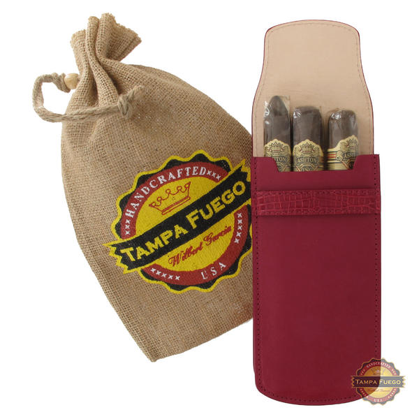 Tampa Fuego Cigar Case Burgundy Smooth Genuine Leather Alligator Tab