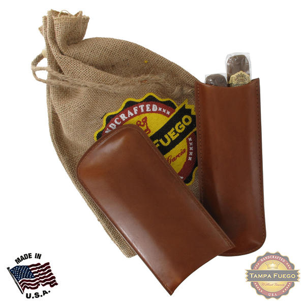 Tampa Fuego Cigar Case Genuine Leather Cognac Lined Two Finger Father's Day