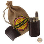 Tampa Fuego Cigar Case Crocodile Grain Genuine Leather Brown Robusto Fathers Day