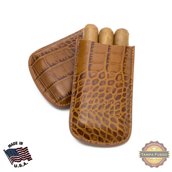 Tampa Fuego Cigar Case Crocodile Grain Leather Cognac Big 3 Finger Father's Day