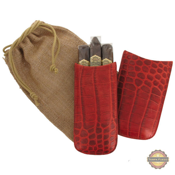 Tampa Fuego Cigar Case Crocodile Grain Genuine Leather Red