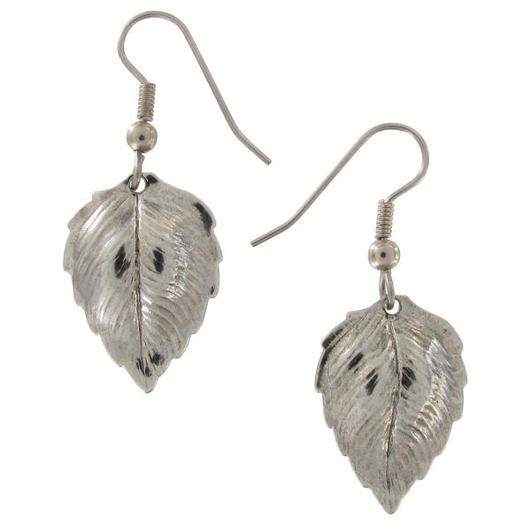 Ky & Co Silver Tone Small Leaf Pierced Earrings 1 5/8""