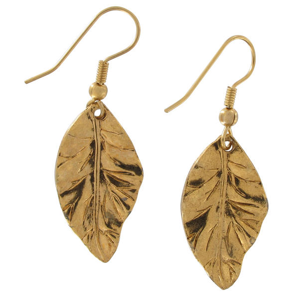 "Ky & Co Gold Tone Leaf Dangle Pierced Earrings 1 3/4"" USA Made"