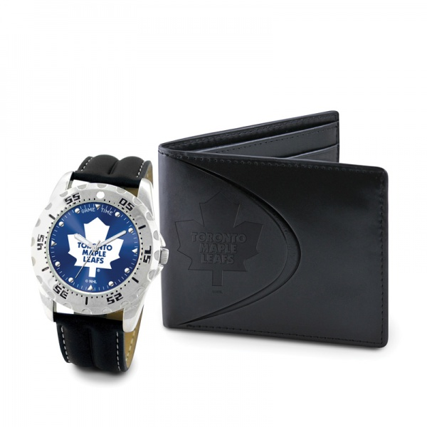 Toronto Maple Leafs Game Time Black Leather Watch Bifold Wallet Set MTO