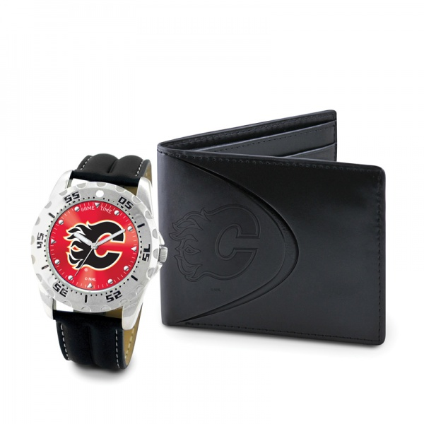 Calgary Flames Game Time Black Leather Watch Bifold Wallet Set MTO