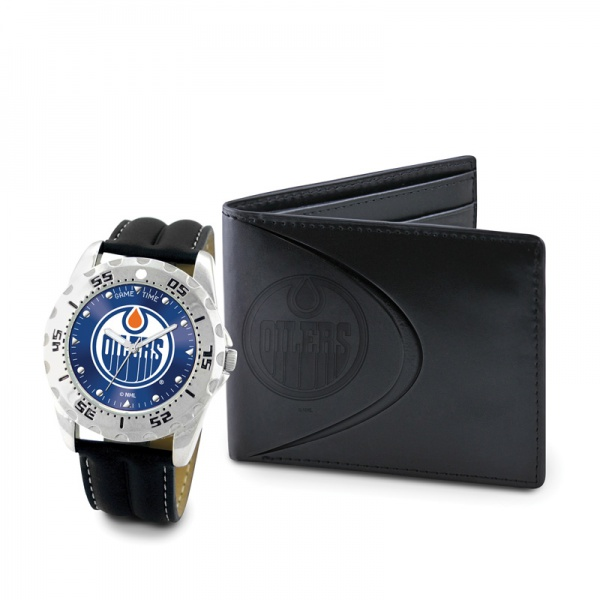 Edmonton Oilers Game Time Black Leather Watch Bifold Wallet Set MTO