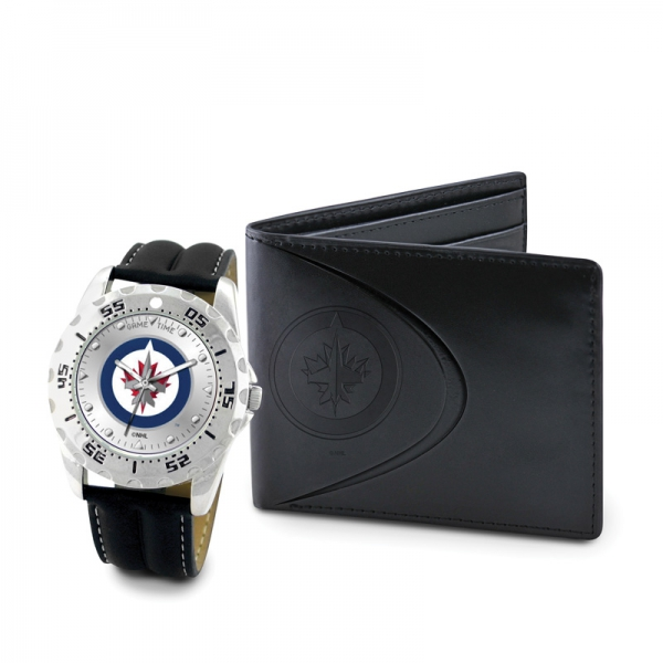 Winnepeg Jets Game Time Black Leather Watch Bifold Wallet Set MTO