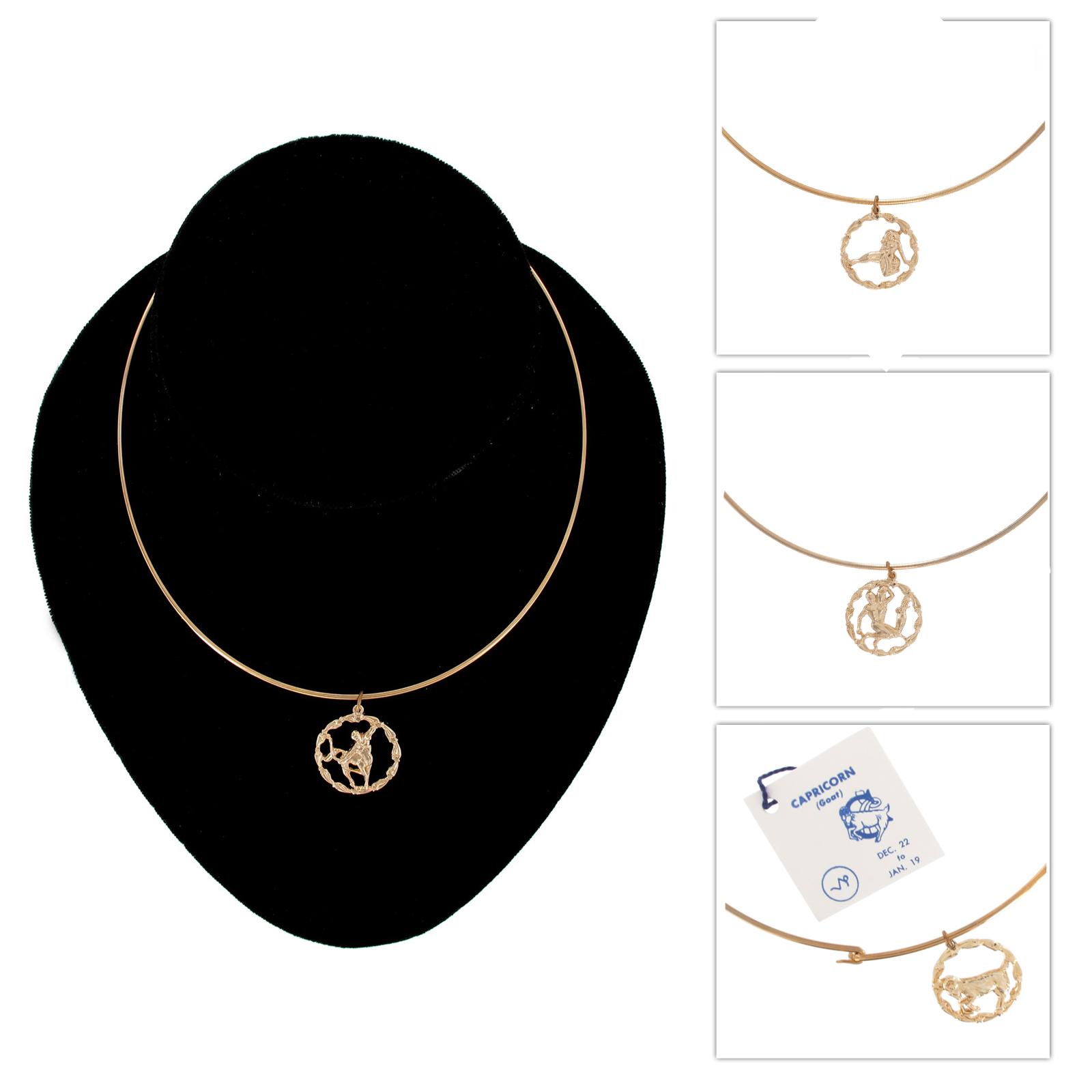 Gold Tone Zodiac Round Charm Choker Necklace - Choose Sign ... - photo#46