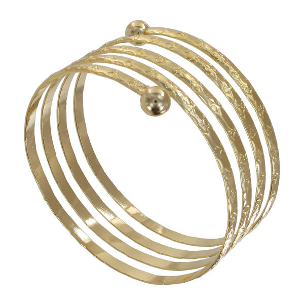 Ky & Co Children's Juniors Size Coil Spiral Bangle Bracelet Gold Tone Etched USA Made