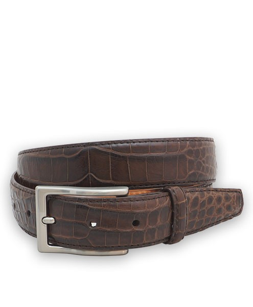 Bryant Park Genuine Alligator Semi-Shiny With Snap Men's Belt 1 ¼?  Sz 40 Brown SPO
