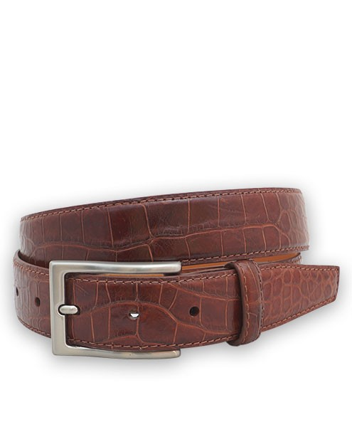 "Bryant Park Genuine Alligator Semi-Shiny With Snap Men's Belt 1 ¼""  Sz 34 Cognac SPO"