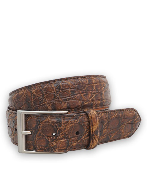 Bryant Park Genuine Caiman Crocodile Vintage Finish Mens Belt 1 1/2?  Brown 42
