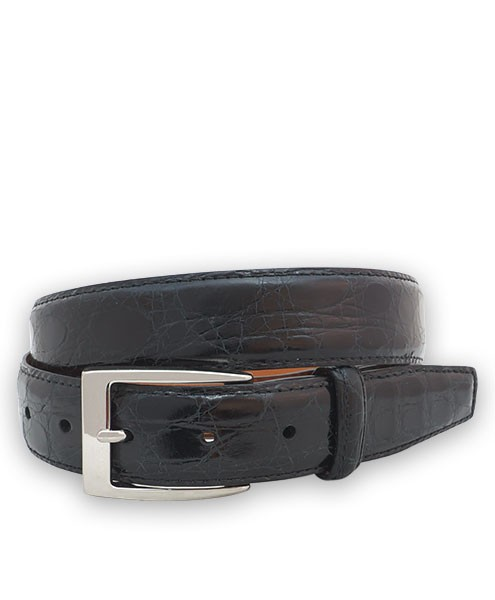 "Bryant Park Genuine Shiny Crocodile With Snap Men's Belt 1 1/4"" Black Sz 42 SPO"
