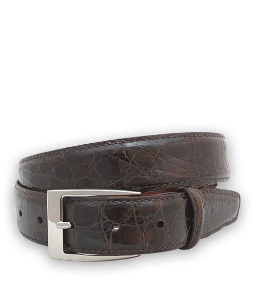 "Bryant Park Genuine Shiny Crocodile With Snap Men's Belt 1 1/4"" Brown Sz 42 SPO"