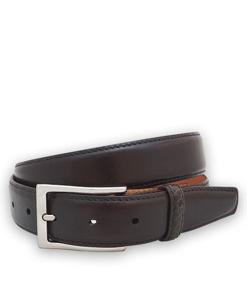 Bryant Park Monte Carlo Leather Alligator Loop Men Belt 1 1/4? Brown Sz 36