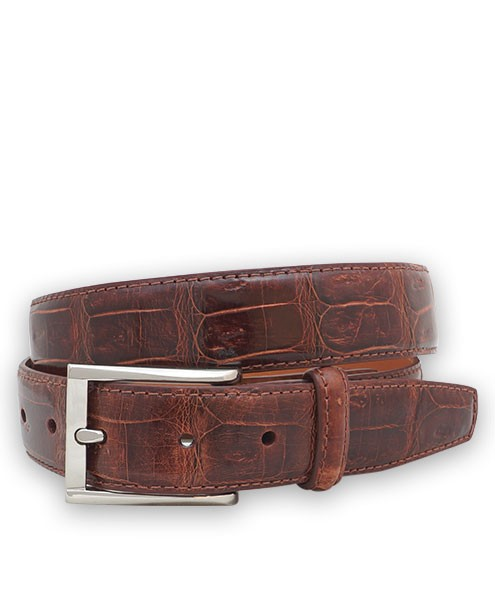 "Bryant Park Genuine Shiny Crocodile Tail With Snap Men's Belt 1 1/4"" Cognac Sz 32 SPO"