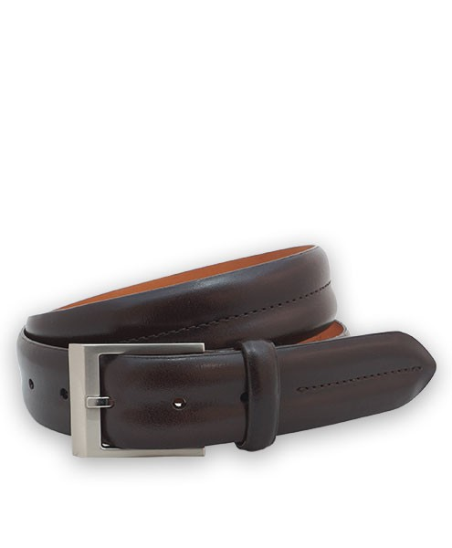"Bryant Park Monte Carlo Leather Double Barrel Men Belt 1 3/8"" Brown Sz 32 SPO"