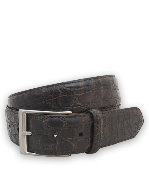 "Bryant Park Genuine Caiman Crocodile Vintage Finish Mens Belt 1 1/2""  Dark Brown 44 SPO"