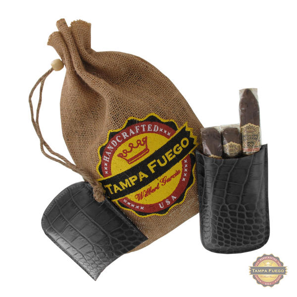 Tampa Fuego Cigar Case Crocodile Grain Genuine Leather Black Robusto- SPO