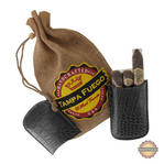Tampa Fuego Cigar Case Crocodile Grain Genuine Leather Black Robusto- SPO Thumbnail 1