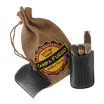 Tampa Fuego Cigar Case Crocodile Grain Genuine Leather Black Robusto- SPO Thumbnail 2