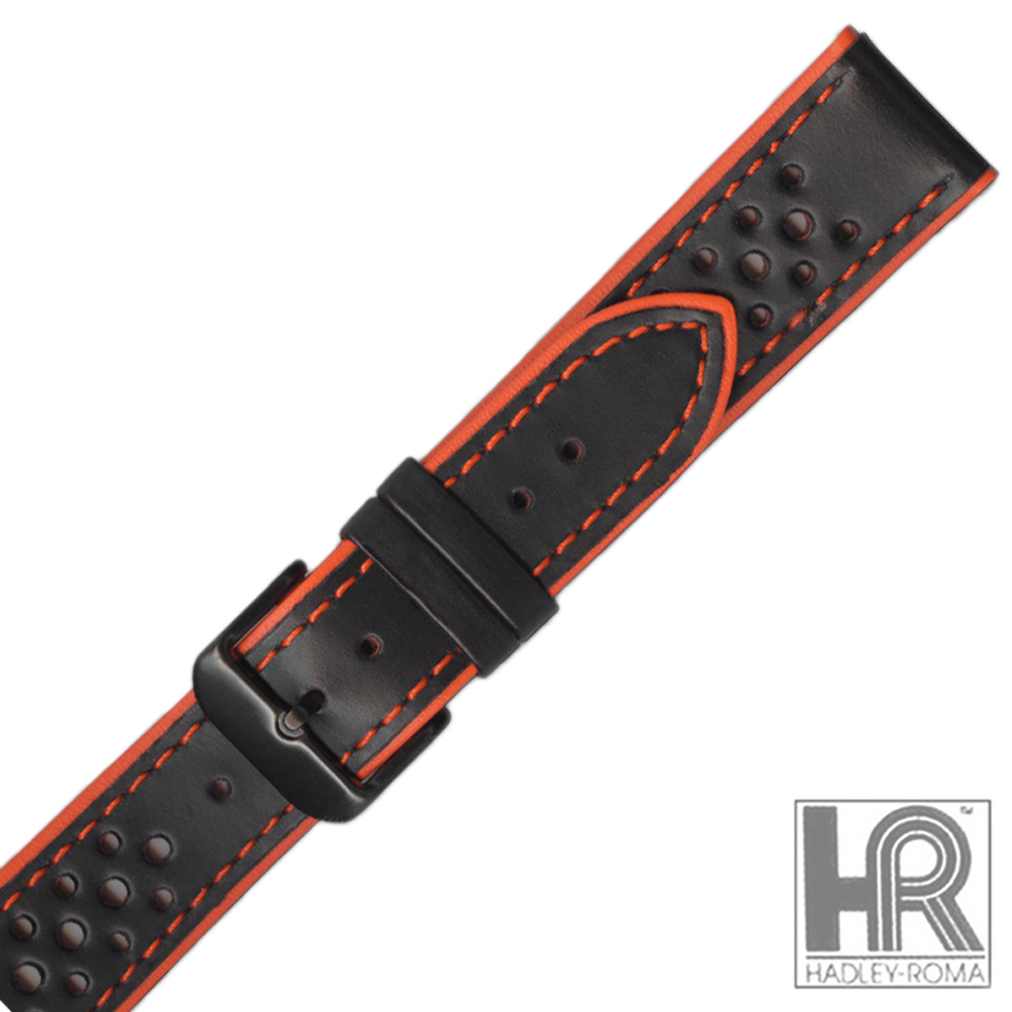 Hadley Roma Ms755 22mm Reg Orange Gen Leather Perforated