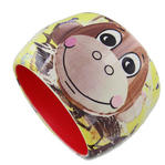 Lisa Perry Jeff Koons Monkey Train Resin Printed Pop Art Chunky Bangle Bracelet