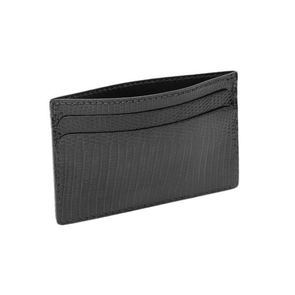 Hadley Roma Made In USA Genuine Lizard Credit Card Case Black SPO