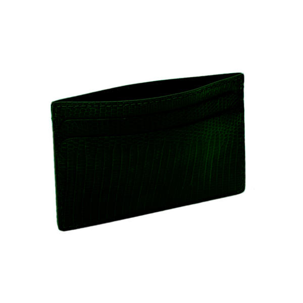 Hadley Roma Made In USA Genuine Lizard Credit Card Case Green
