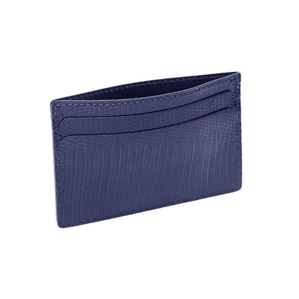 Hadley Roma Made In USA Genuine Lizard Credit Card Case - Navy Blue SPO