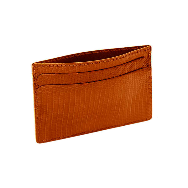 Cognac Brown Genuine Lizard Credit Card Case Hadley Roma USA Made