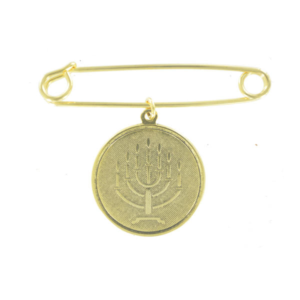 Ky & Co Safety Pin Brooch Hebrew Menorah Symbol Dangle Charm Gold Tone USA Made 2""