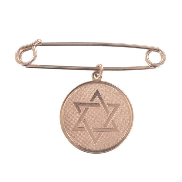 Ky & Co Safety Pin Brooch Hebrew Star Of David Dangle Charm Rose Gold Tone USA Made 2""