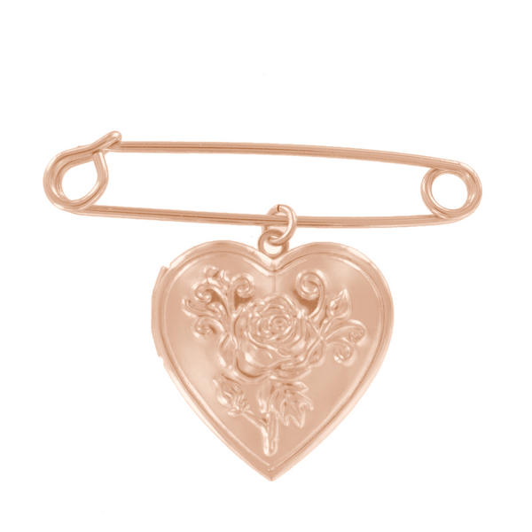 Ky & Co Safety Pin Brooch Flower Heart Photo Locket Dangle Charm Rose Gold Tone USA Made 2""