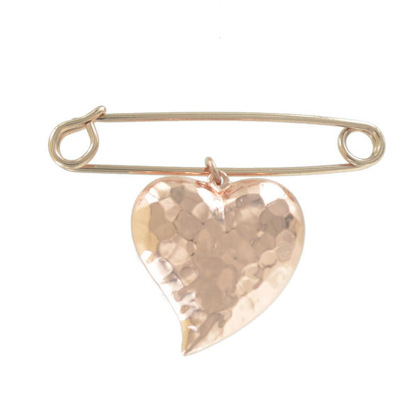 Ky & Co Safety Pin Brooch Hammered Puffy Heart Charm Rose Gold Tone USA Made 2""