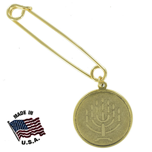 Ky & Co Safety Pin Brooch Hebrew Menorah Symbol Dangle End Charm Gold Tone USA Made 2""