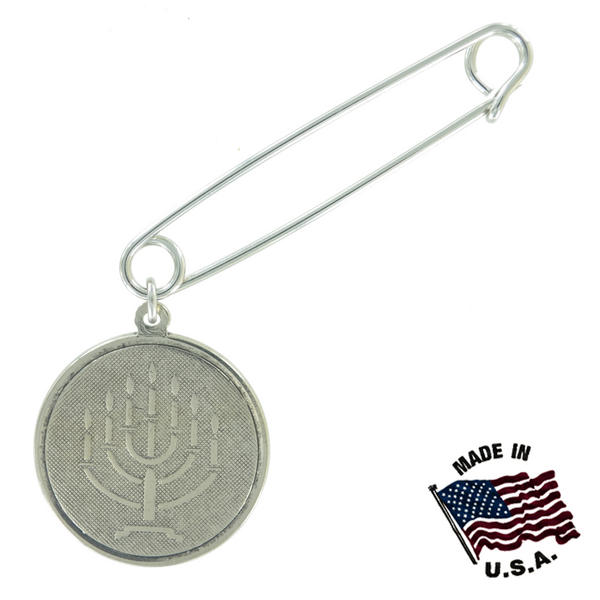 Ky & Co Safety Pin Brooch Hebrew Menorah Symbol Dangle End Charm Silver Tone USA Made 2""