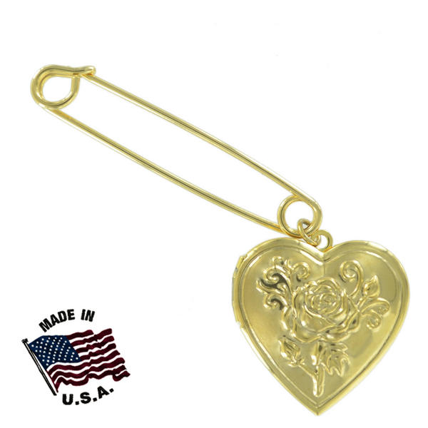 Ky & Co Safety Pin Brooch Rose Heart Photo Locket End Charm Gold Tone USA Made 2""