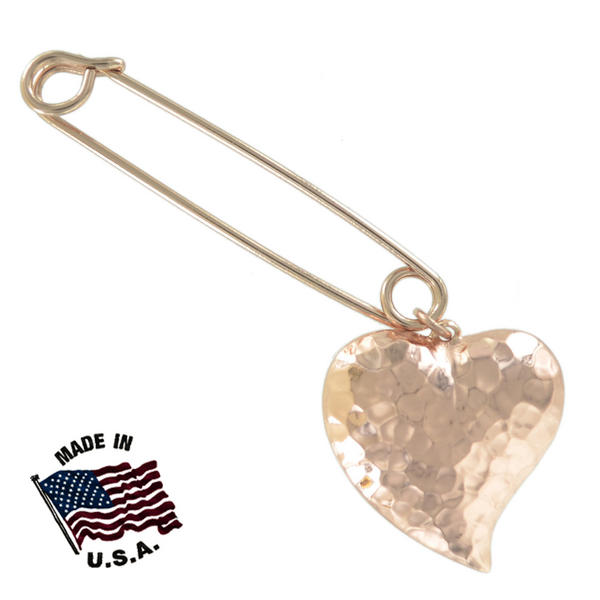 Ky & Co Safety Pin Brooch Hammered Puffy Heart End Charm Rose Gold Tone USA Made 2""