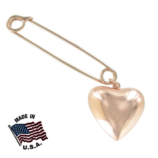 Ky & Co Safety Pin Brooch Plain Puffy Heart End Charm Rose Gold Tone USA Made 2""