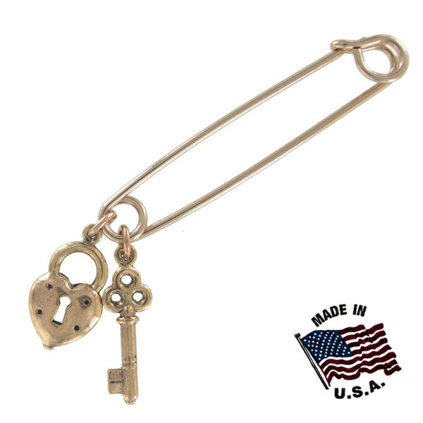 Ky & Co Safety Pin Brooch Heart Key End Charm End Charm Rose Gold Tone USA Made 2""