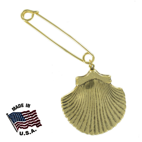 Ky & Co Safety Pin Brooch Large Cockle Sea Shell Nautical End Charm Gold Tone USA Made 2""