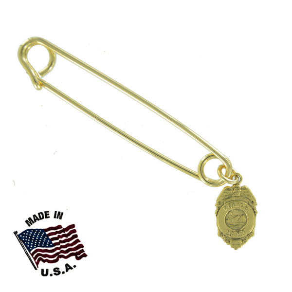 Ky & Co Safety Pin Brooch Police Shield Badge Dangle End Charm Gold Tone USA Made 2""