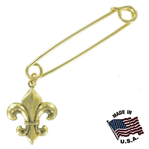 Ky & Co Safety Pin Brooch Fleur de Lis Dangle End Charm Gold Tone USA Made 2""