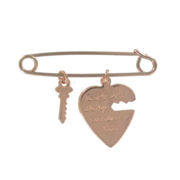 Ky & Co Safety Pin Brooch Heart and Key Charms Rose Gold Tone USA Made 2""