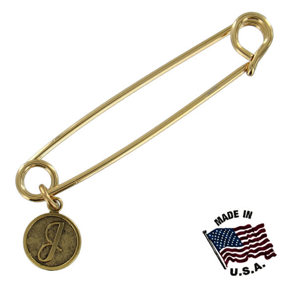 Ky & Co Safety Pin Brooch Gold Tone Cursive Initial Letter J Charm USA Made 2""