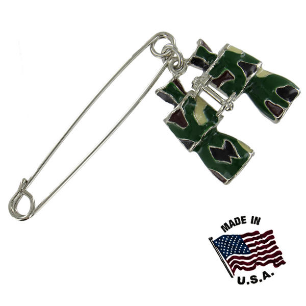 Ky & Co Safety Pin Brooch Silver Tone Army Camouflage Binocular End Charm USA Made 2 1/2""